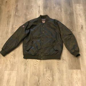 Men's Ben Sherman Flight Bomber Jacket Olive XL